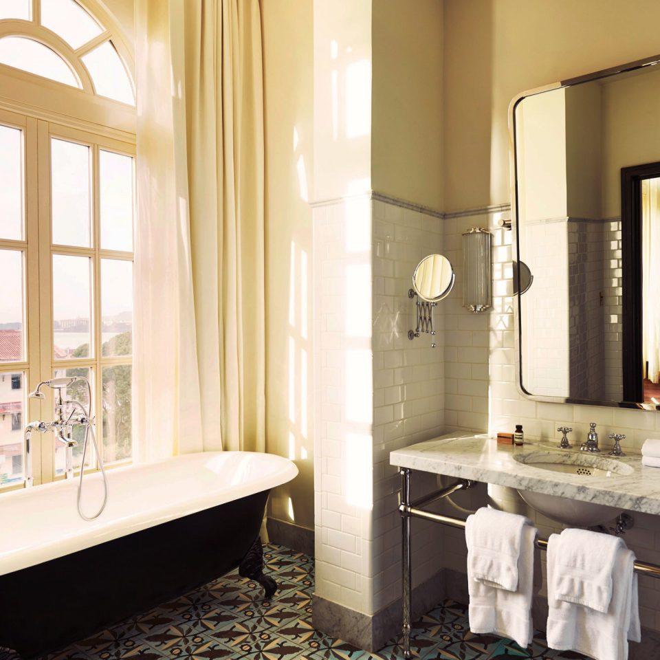 Bath Modern Scenic views bathroom mirror property Suite home sink flooring living room mansion Bedroom tiled