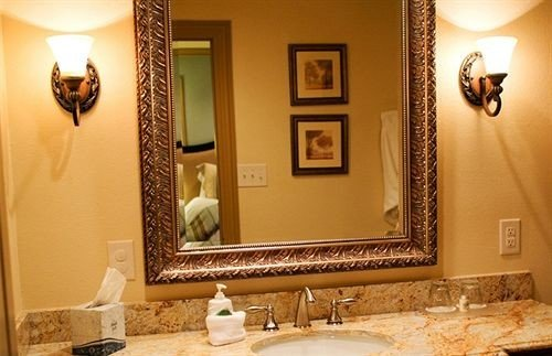 bathroom sink mirror vanity towel home lighting living room Suite double Bedroom Bath tan