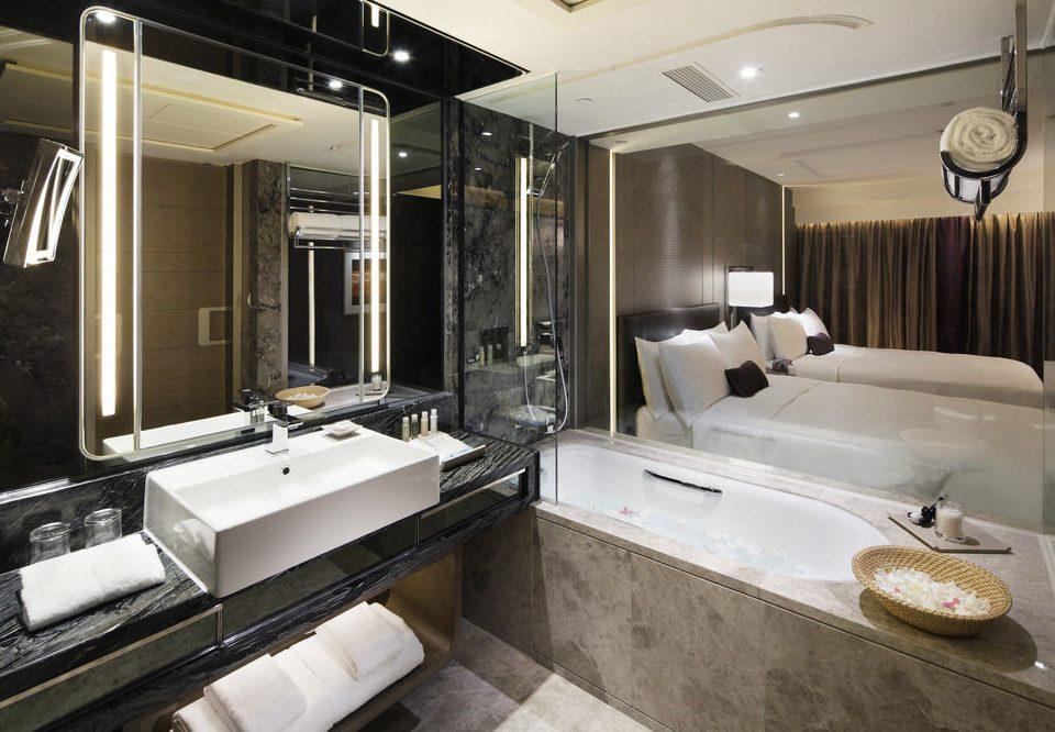 bathroom mirror sink property vehicle yacht passenger ship luxury yacht Boat home Suite tub bathtub Bath