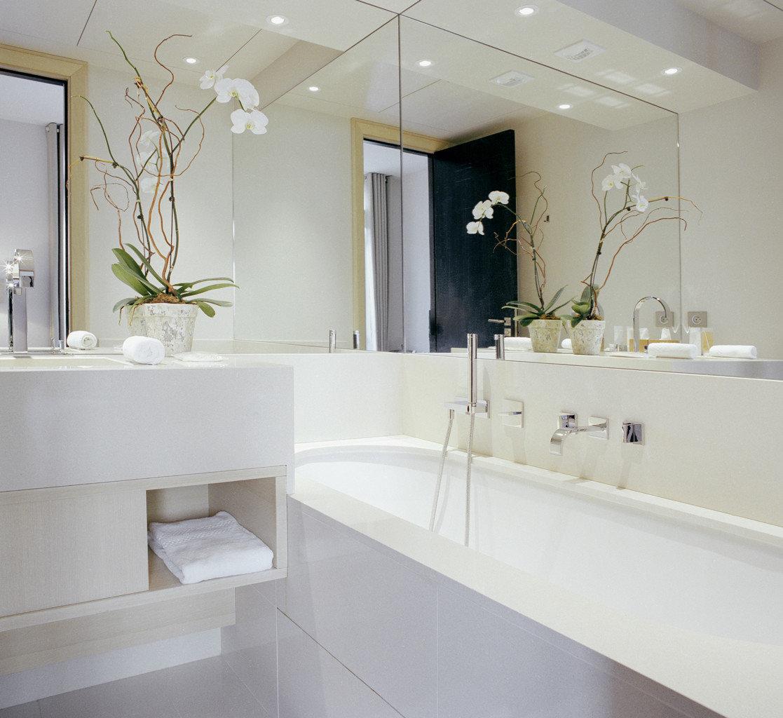 Bath Boutique City Elegant France Hotels Luxury Paris bathroom mirror property sink bathtub white plumbing fixture vanity bathroom cabinet flooring tub clean Modern