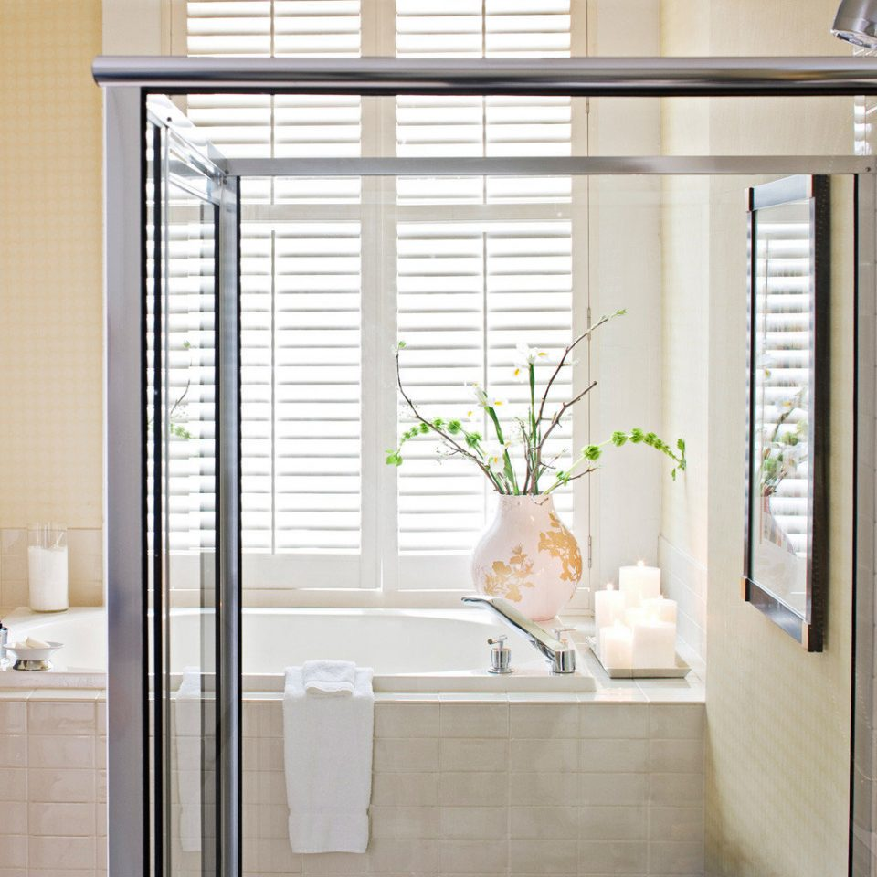 Bath Boutique City Hip bathroom door curtain cabinetry window treatment plumbing fixture