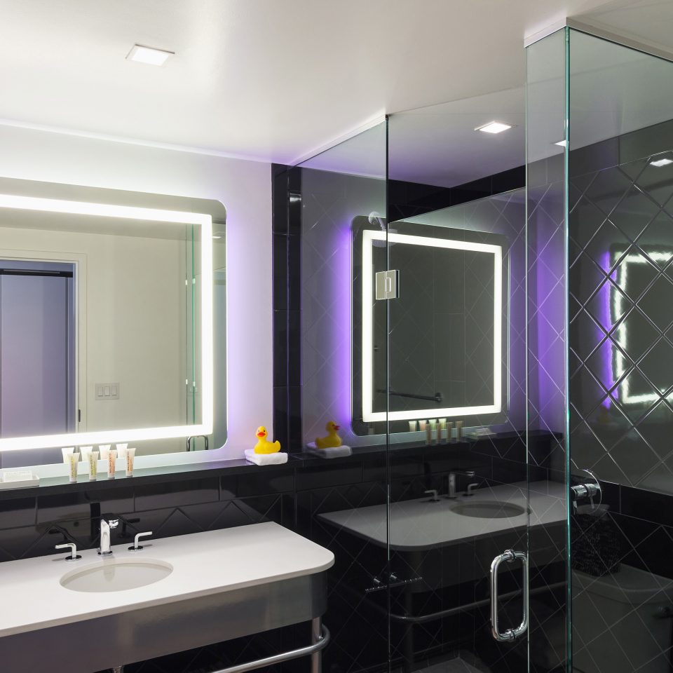 Bath Boutique Hip Modern bathroom property sink home Suite lighting condominium long living room