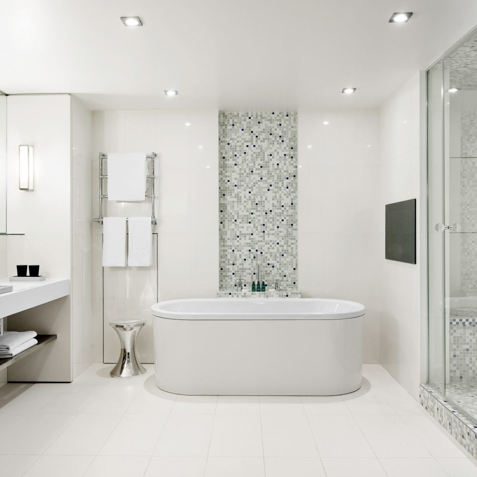 Bath Boutique Luxury Modern bathroom mirror bathtub sink plumbing fixture white bidet flooring toilet