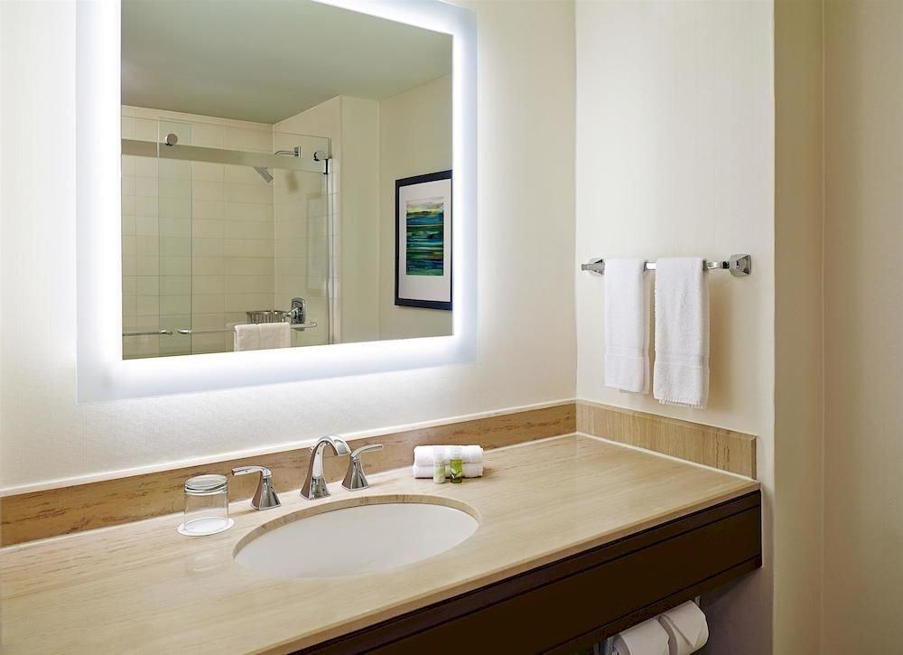 Bath Business Classic bathroom mirror sink property home Suite plumbing fixture tan