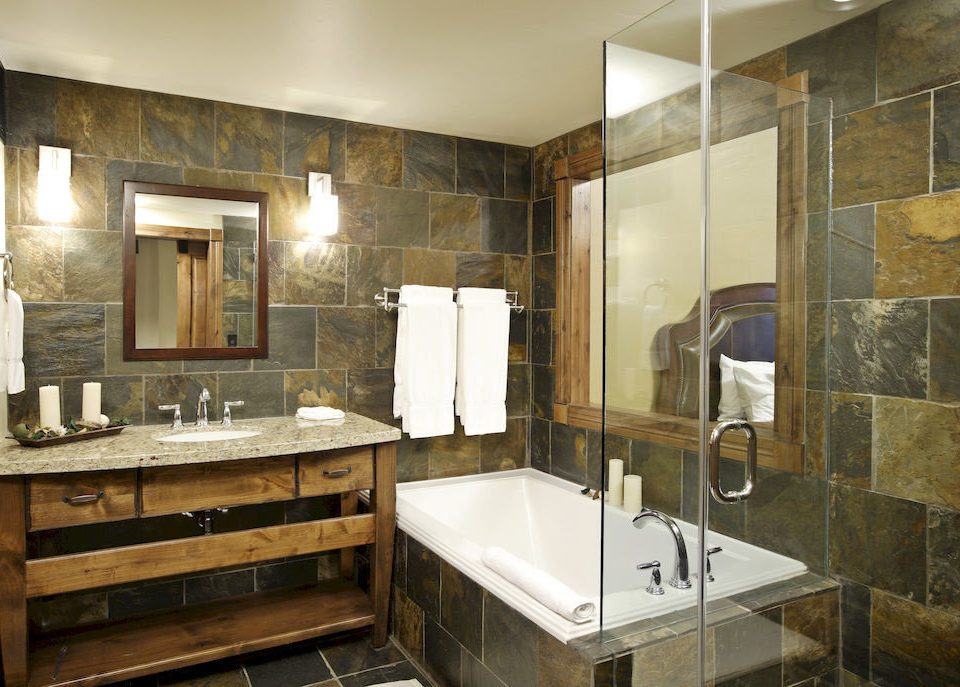 Bath City Lodge bathroom property sink cabinetry home Kitchen countertop cottage plumbing fixture