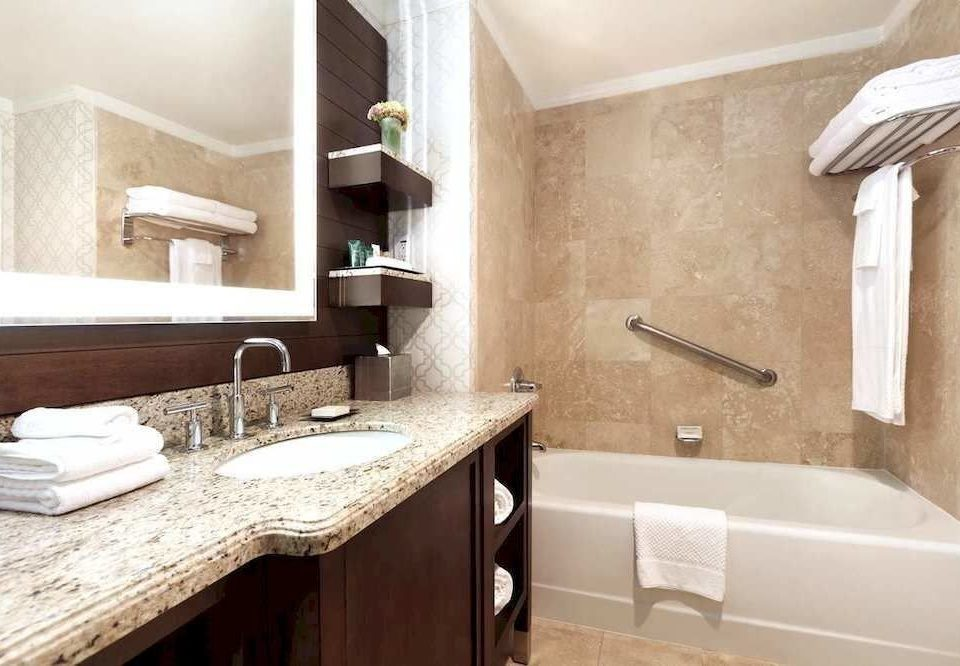 Bath Classic bathroom sink property mirror home countertop cottage counter flooring Suite tile Modern tan