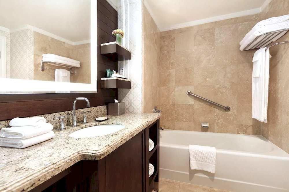 Bath Classic bathroom sink property mirror home countertop cottage counter flooring Suite tile Modern tan