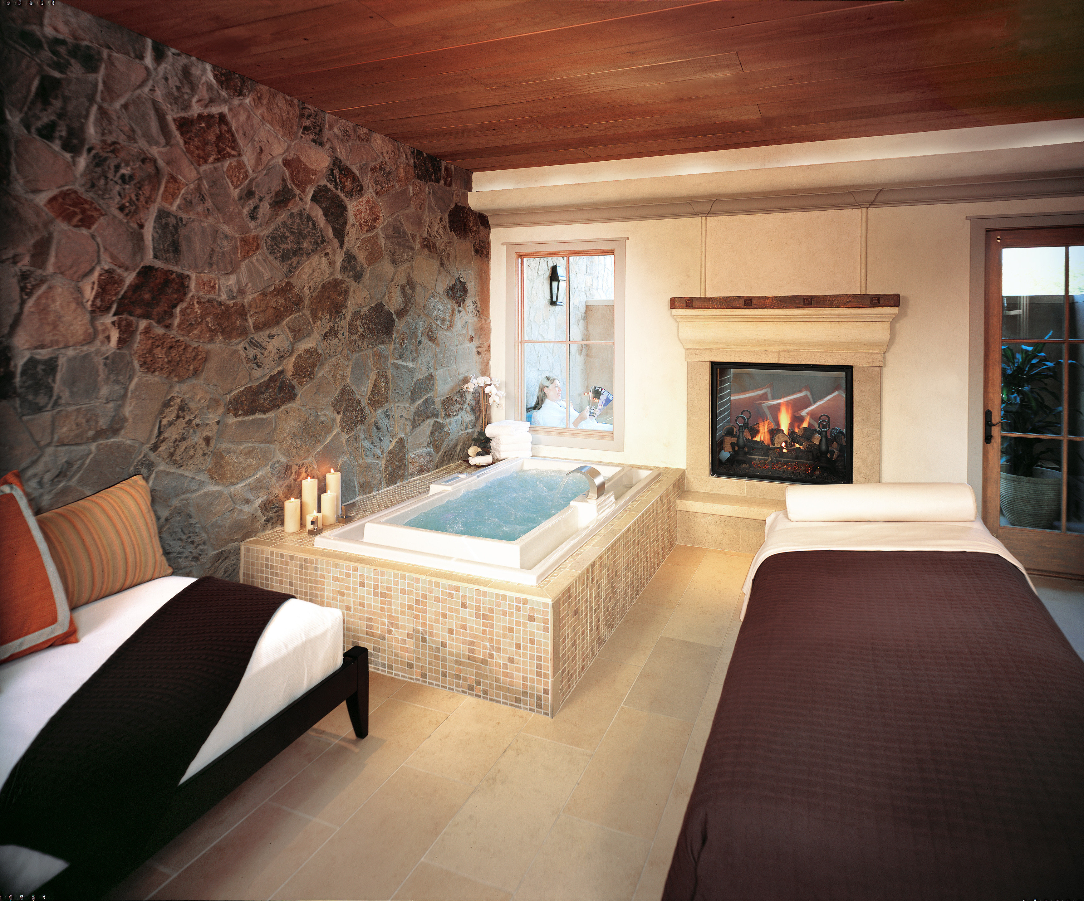 Bath Hotels Luxury Romance Spa Spa Retreats Trip Ideas sofa property house Fireplace living room home hardwood cottage Suite stone wood flooring mansion