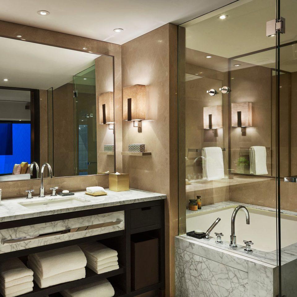 Bath Hip Luxury Modern bathroom mirror sink property cabinetry home counter condominium lighting Kitchen Suite flooring