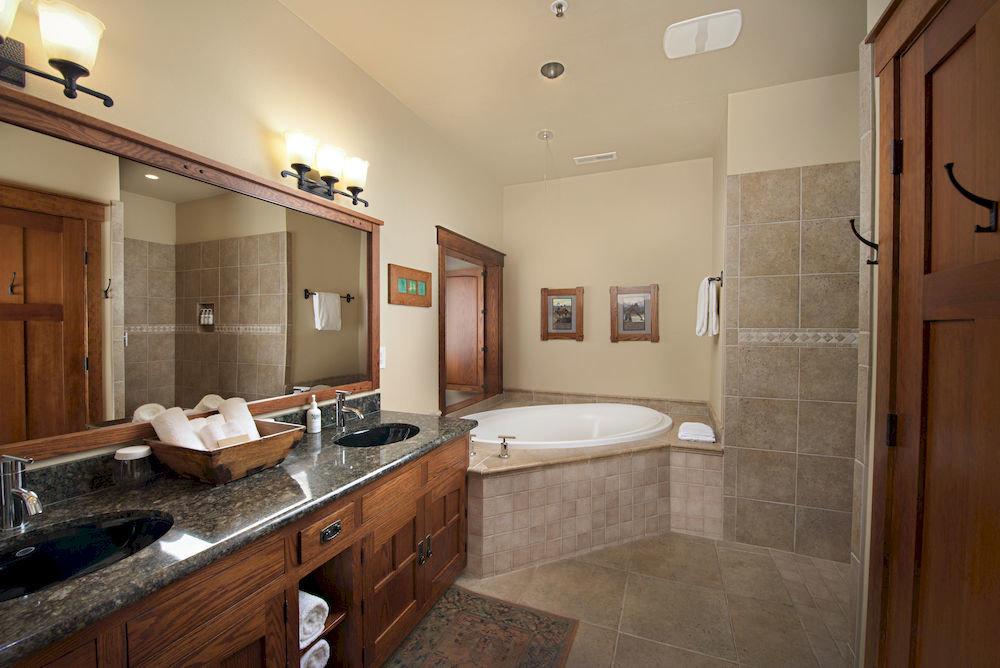 Bath Lodge Rustic property sink bathroom home cottage counter hardwood Kitchen cabinetry