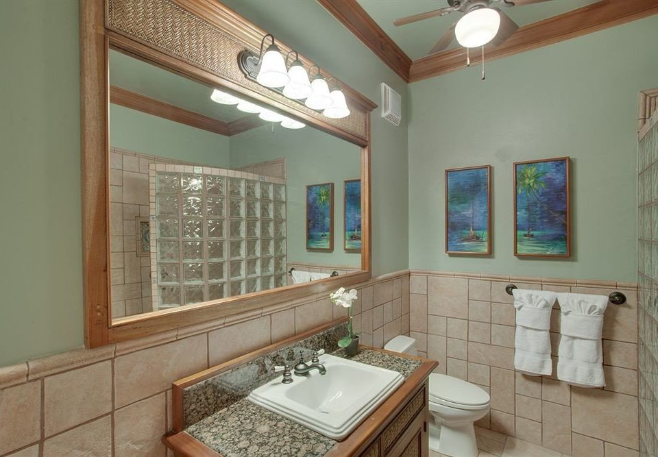 bathroom sink mirror property home cottage mansion Kitchen farmhouse counter living room Villa tile tiled Bath