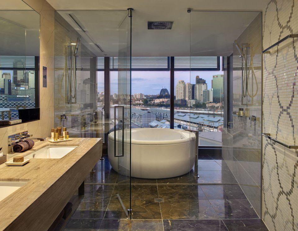 property home bathroom flooring swimming pool Lobby glass condominium tub Bath tiled bathtub