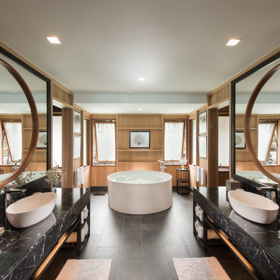 bathroom sink counter Lobby flooring Suite penthouse apartment Modern tub Bath bathtub