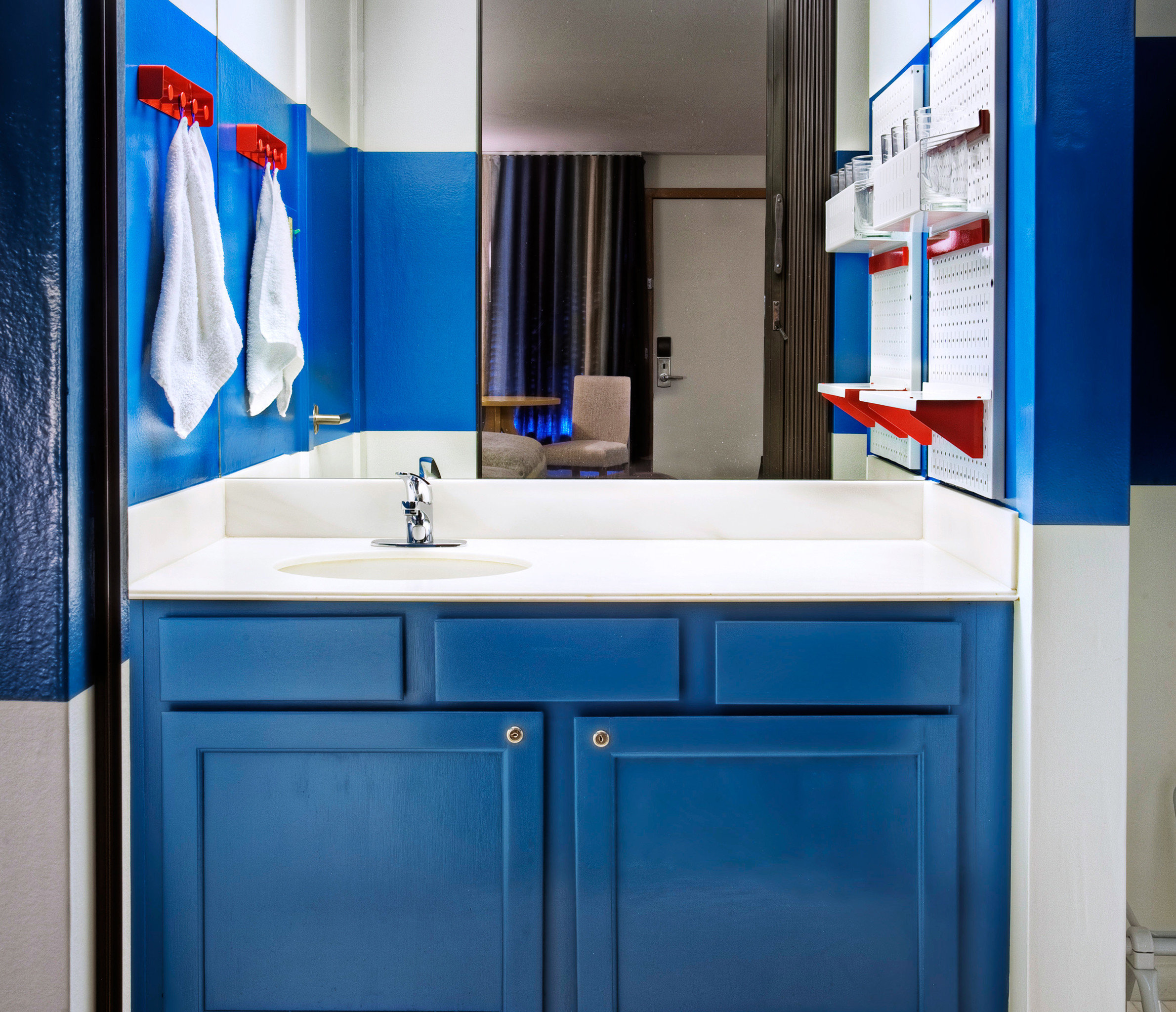 Bath Lodge Mountains Ski cabinet blue bathroom white door home plumbing fixture sink kitchen appliance colored