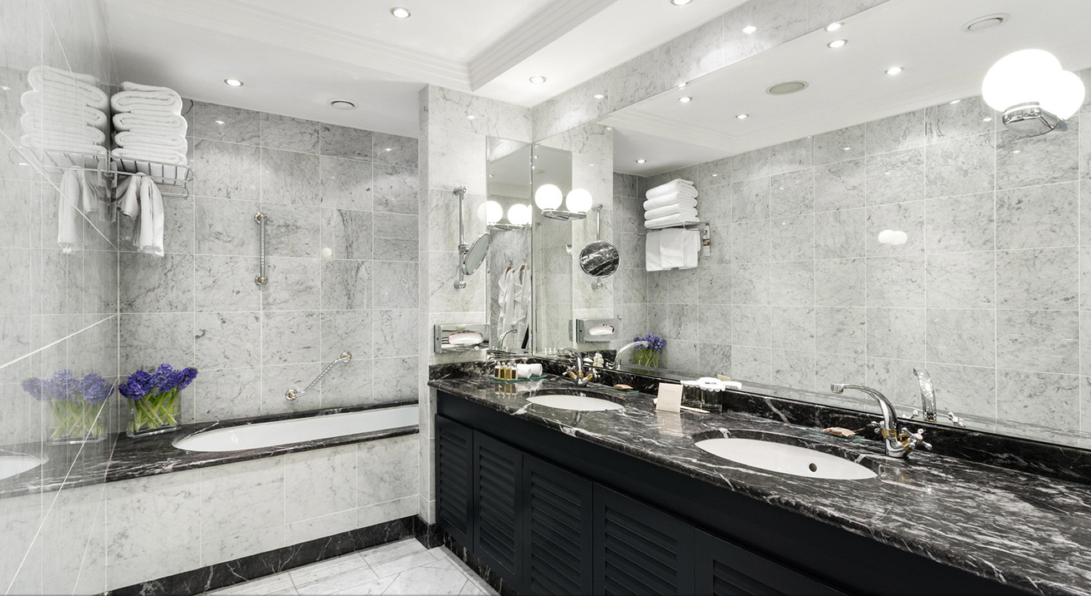 Bath Luxury Modern bathroom property counter plumbing fixture bathtub flooring