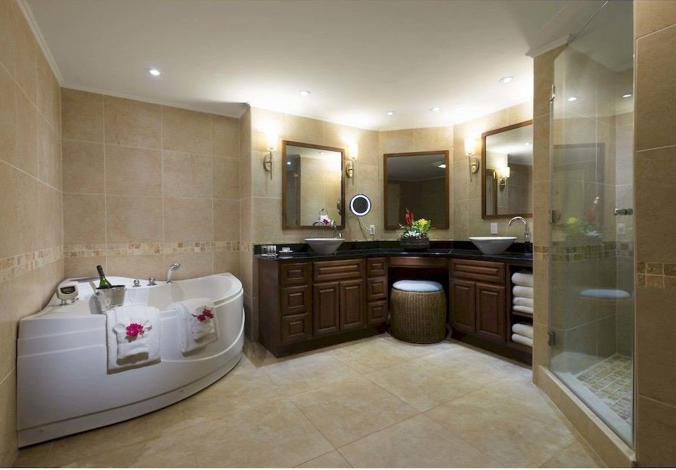 Bath Luxury Resort Romantic bathroom property sink Suite home flooring mansion condominium tile tub bathtub