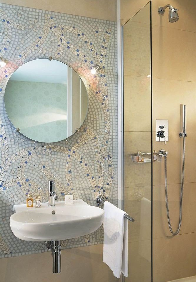 bathroom sink mirror toilet plumbing fixture tiled bathtub bidet tile Modern Bath tub