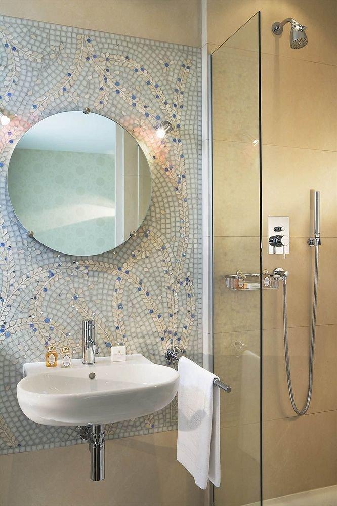 bathroom sink mirror toilet plumbing fixture tiled bathtub bidet tile Modern Bath tub