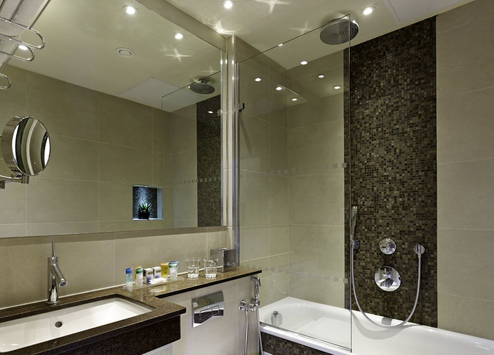 bathroom sink mirror counter property home clean Modern toilet tile stainless tiled Bath