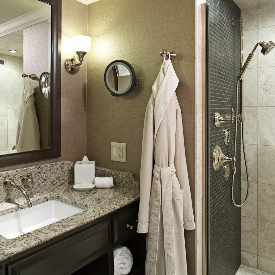 Bath Modern bathroom mirror sink towel counter rack plumbing fixture home tile