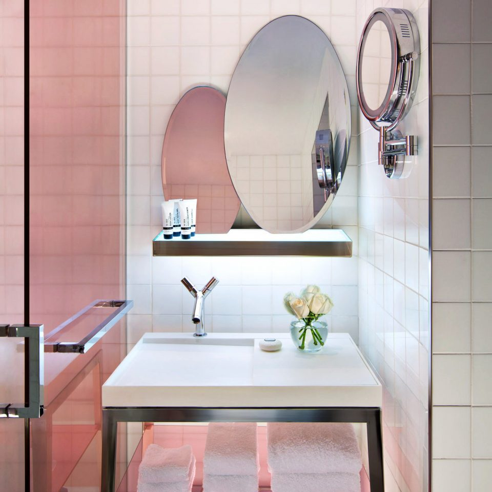 Bath Modern Resort bathroom pink bathroom cabinet sink flooring tile plumbing fixture tiled
