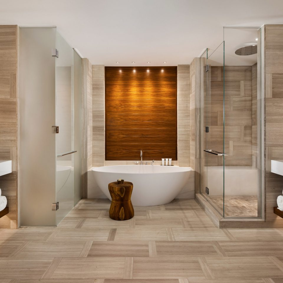 bathroom property flooring hardwood sink wood flooring home Suite tile tub Bath Modern bathtub