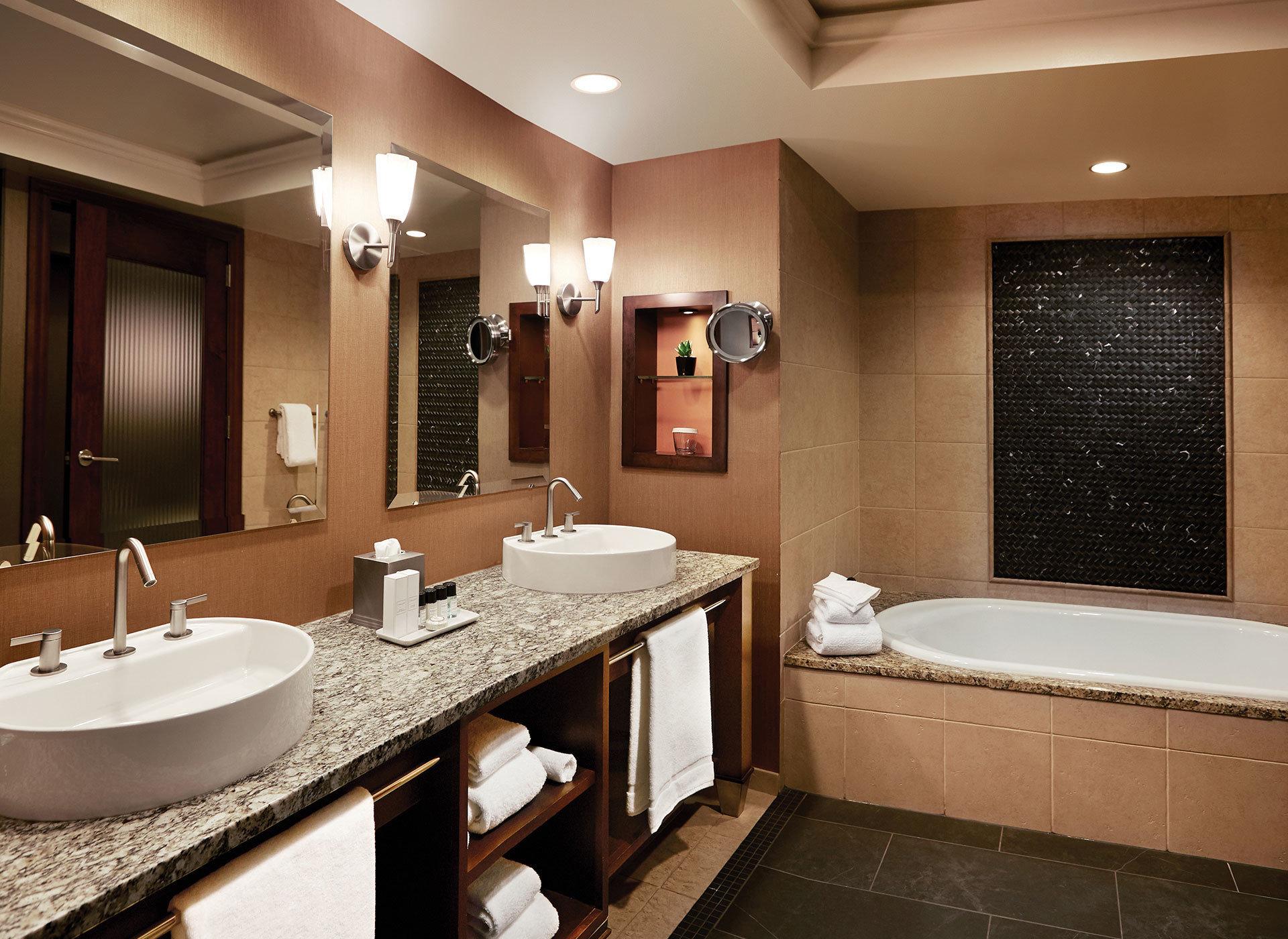 bathroom sink mirror property Suite counter home swimming pool Modern tile tub Bath