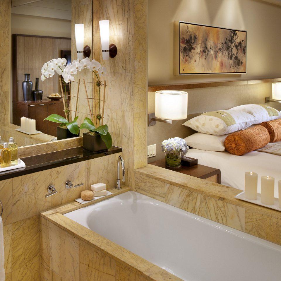 bathroom mirror sink Suite countertop double interior designer Bath bathtub tan