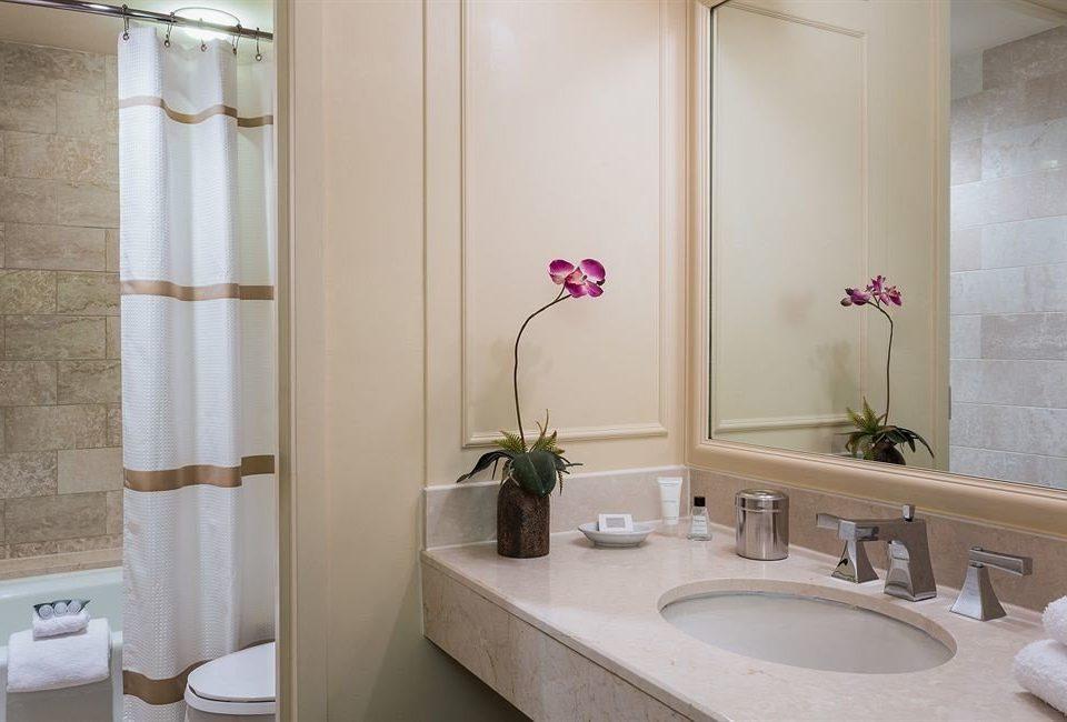 bathroom sink mirror property toilet plumbing fixture tub Suite Bath bathtub tan