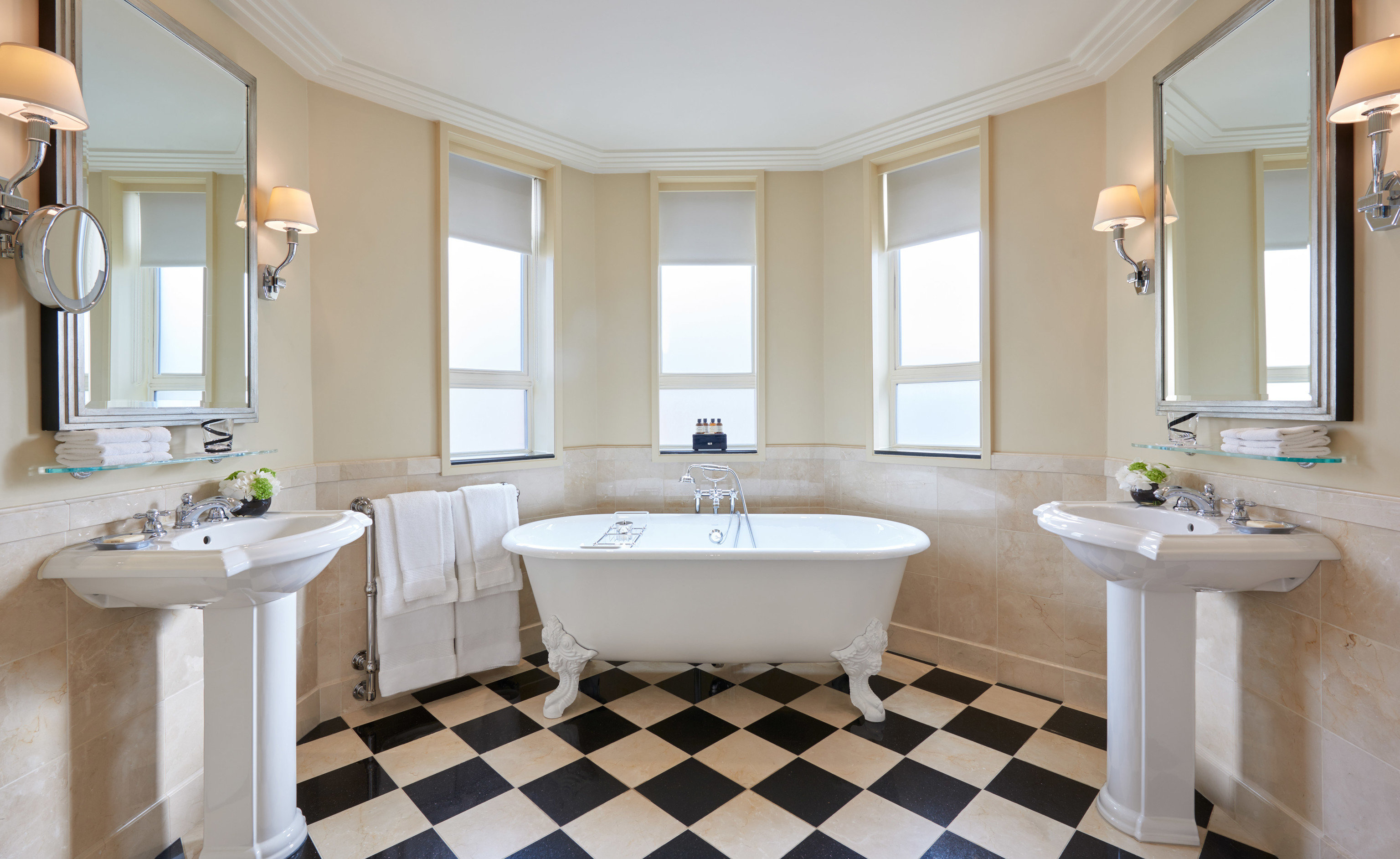 bathroom sink tub property bathtub home tile white Bath Suite tiled flooring cottage