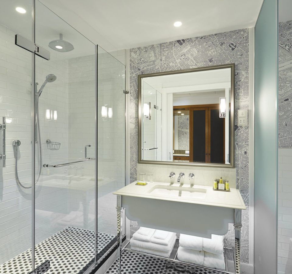 bathroom property mirror shower white condominium plumbing fixture flooring Suite Bath