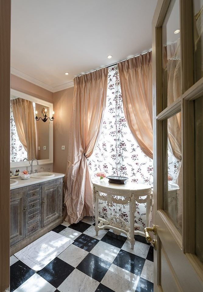 bathroom property curtain home textile living room window treatment Suite material tile tiled tub Bath