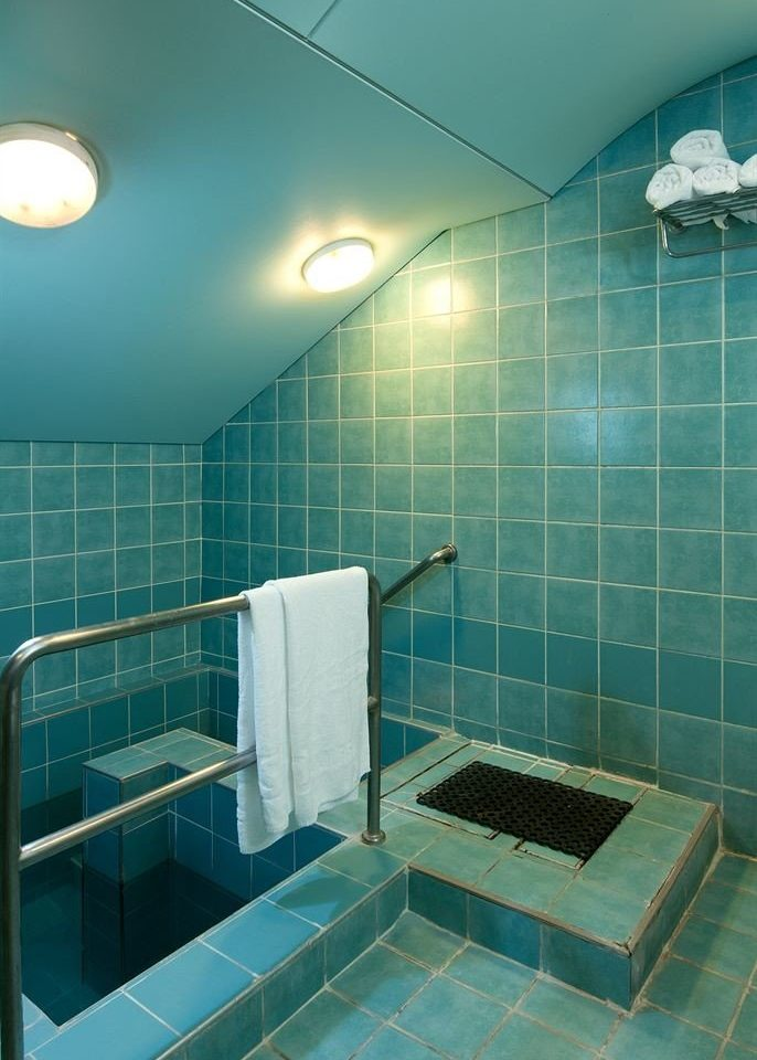 swimming pool bathroom plumbing fixture bathtub green public toilet daylighting tiled blue toilet tile