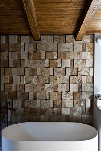 wooden bathroom flooring tile daylighting stone tub bathtub