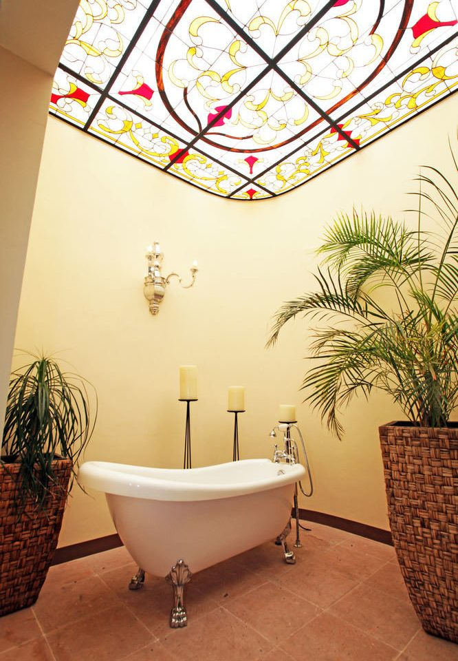 bathroom flooring plant bathtub