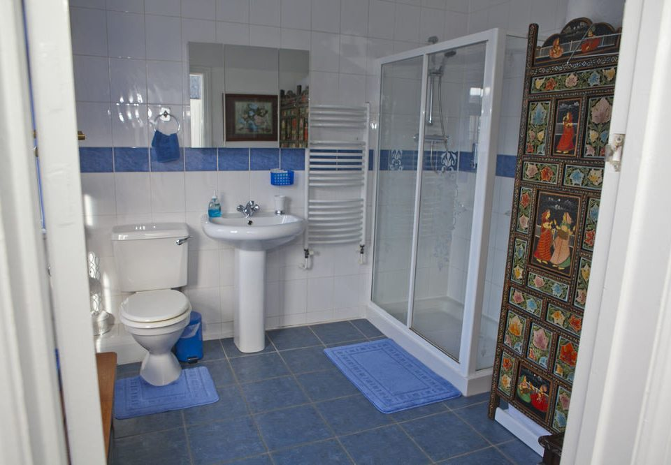 bathroom property toilet house home sink cottage flooring blue tile tiled