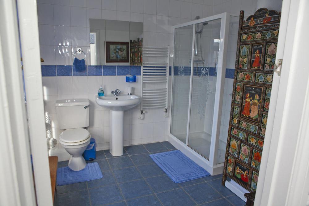 bathroom property toilet house home sink cottage flooring blue tile tiled