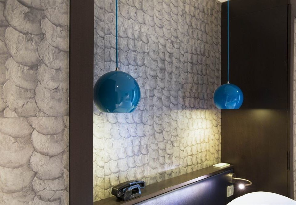 bathroom blue lighting glass tile flooring tiled