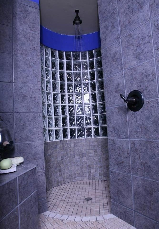 bathroom blue tiled plumbing fixture tile flooring shower toilet