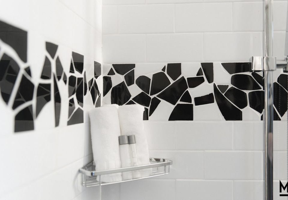 white modern art brand shelf bathroom tiled
