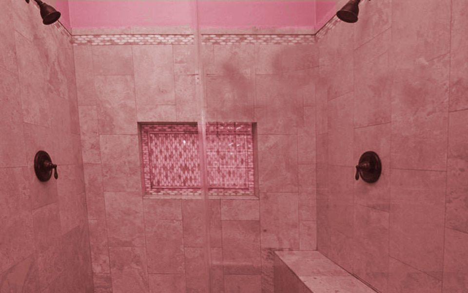 building color red pink bathroom scene house flooring tile plumbing fixture shape shower line painted dirty
