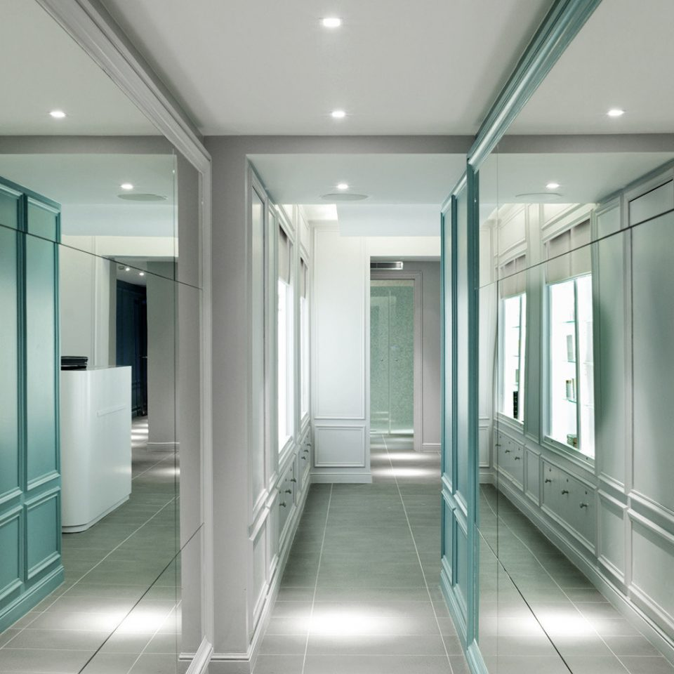 bathroom building green long lighting headquarters office shower public hall glass tiled stall tub tile subway