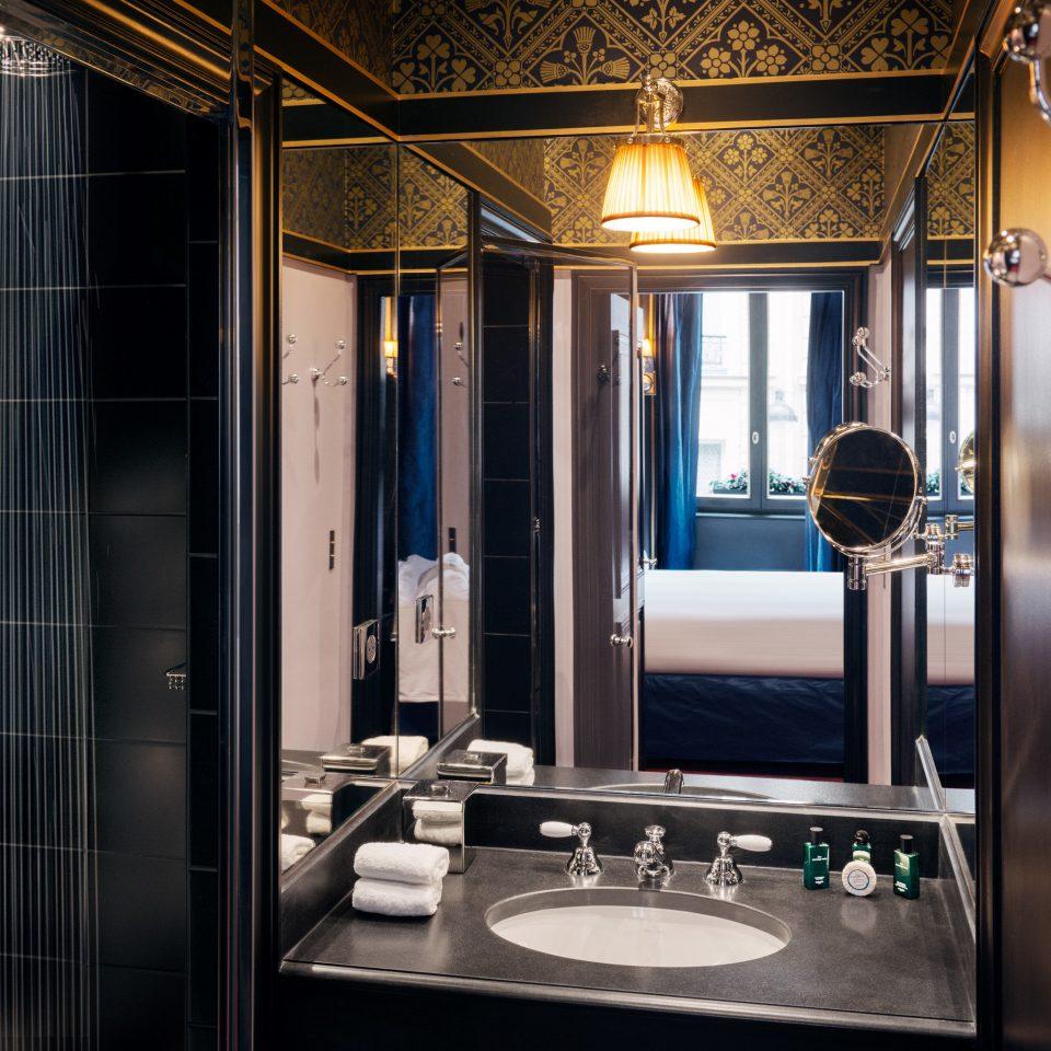 bathroom home lighting door sink cabinetry