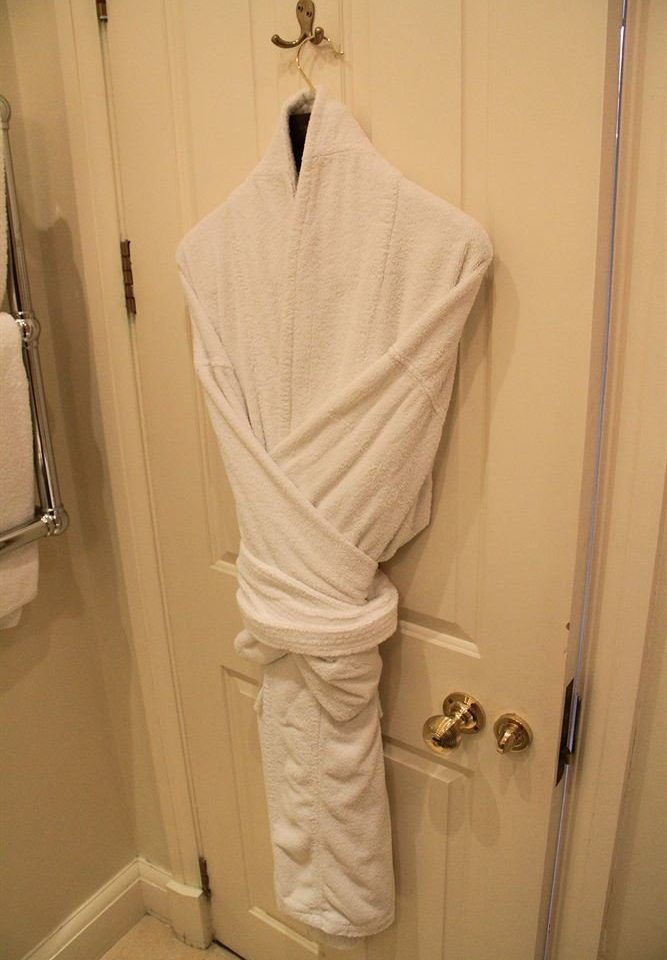 bathroom white clothing dress gown towel outerwear rack