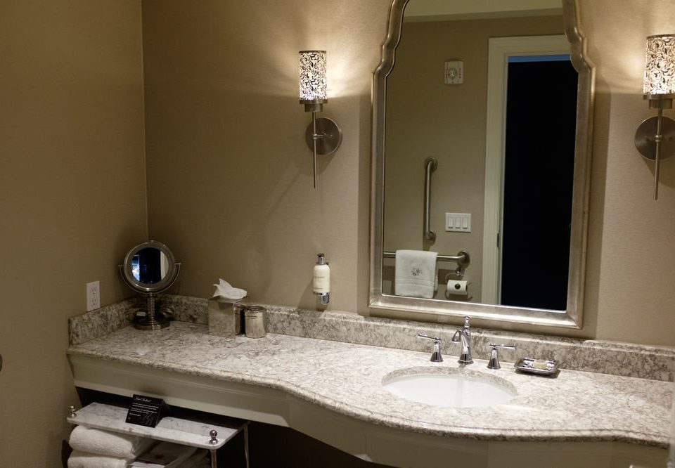 bathroom sink mirror property towel home cottage counter