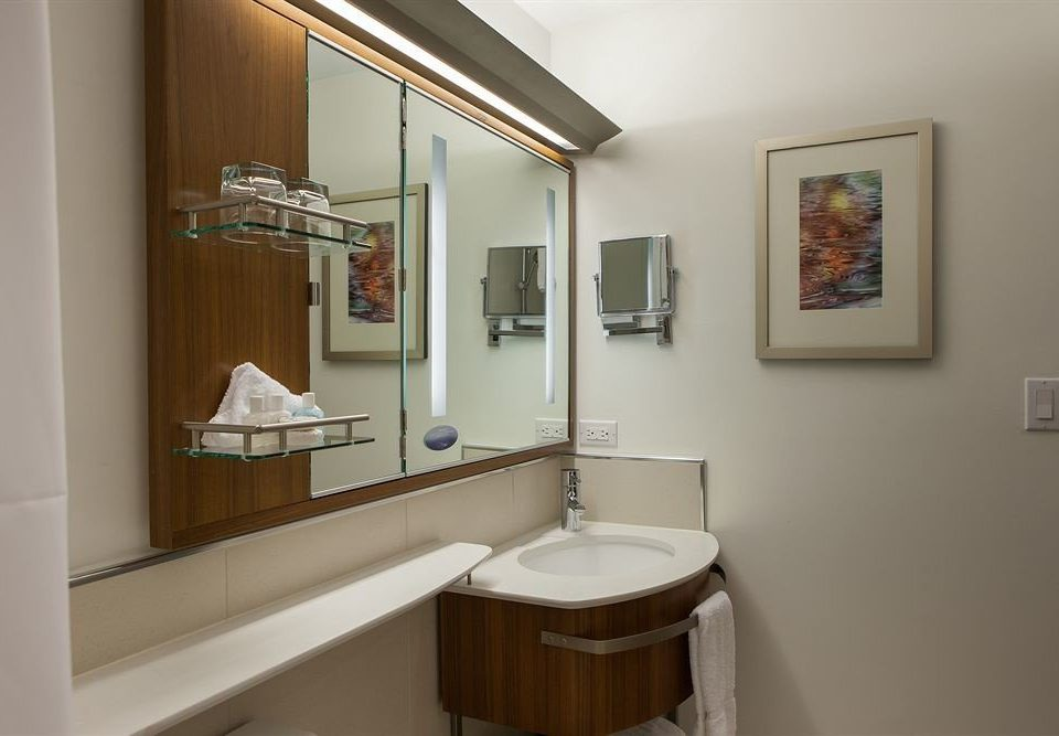 bathroom property mirror sink house home cottage tan
