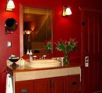 bathroom red sink lighting cottage