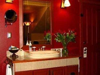 bathroom red sink cottage
