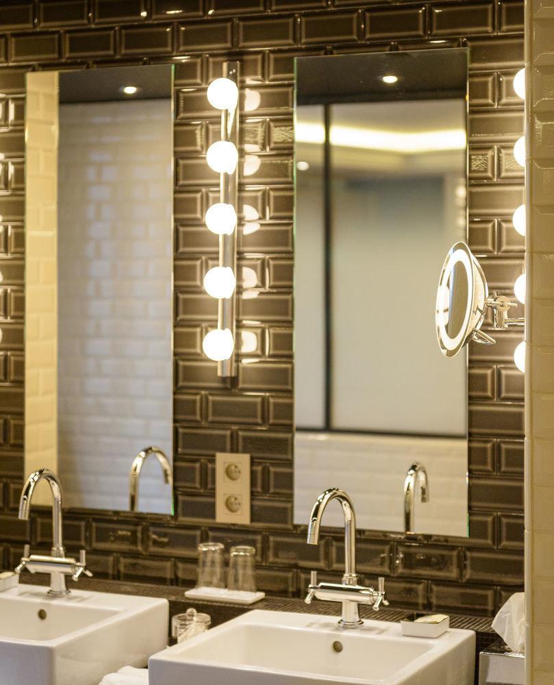 bathroom sink mirror lighting plumbing fixture counter toilet square
