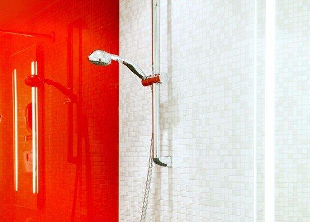 red product plumbing fixture door flooring line bathroom